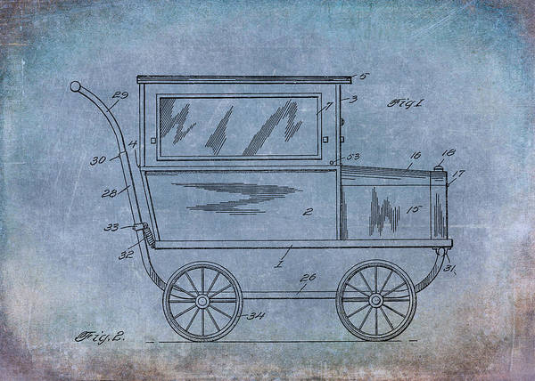 Digital Art - 1921 Kilmer Patent Baby Carriage Blue Aged by Lesa Fine