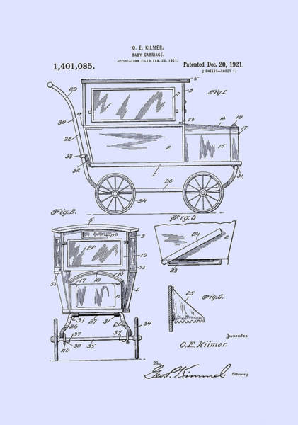 Digital Art - 1921 Kilmer Patent Baby Carriage Blue by Lesa Fine