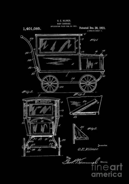 Digital Art - 1921 Kilmer Patent Baby Carriage Bw by Lesa Fine