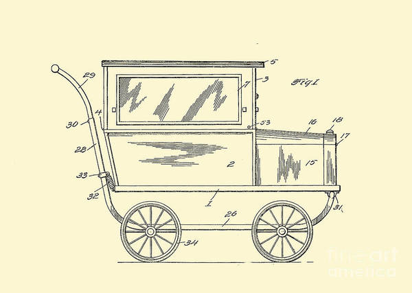 Digital Art - 1921 Kilmer Patent Baby Carriage Crop Yellow by Lesa Fine