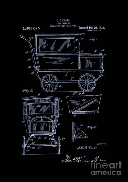 Digital Art - 1921 Kilmer Patent Baby Carriage-inverted-blue by Lesa Fine