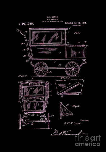 Digital Art - 1921 Kilmer Patent Baby Carriage-inverted Pink by Lesa Fine