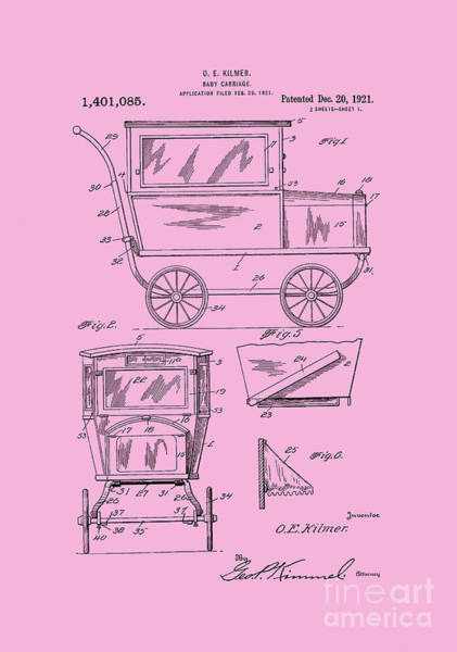 Digital Art - 1921 Kilmer Patent Baby Carriage Pink by Lesa Fine