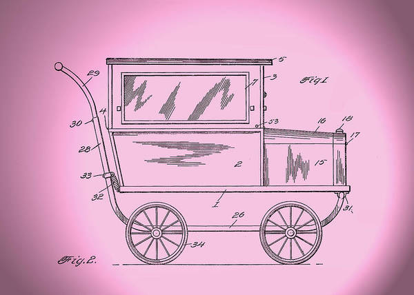 Digital Art - 1921 Kilmer Patent Baby Carriage-pink Spotlight by Lesa Fine