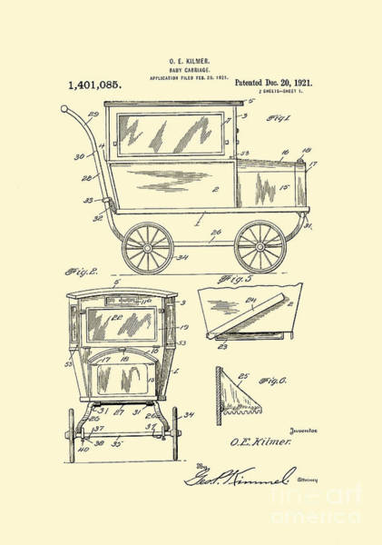 Digital Art - 1921 Kilmer Patent Baby Carriage Yellow by Lesa Fine