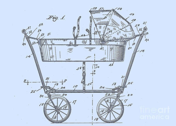 Digital Art - 1922 Baby Carriage Patent Art  Blue by Lesa Fine