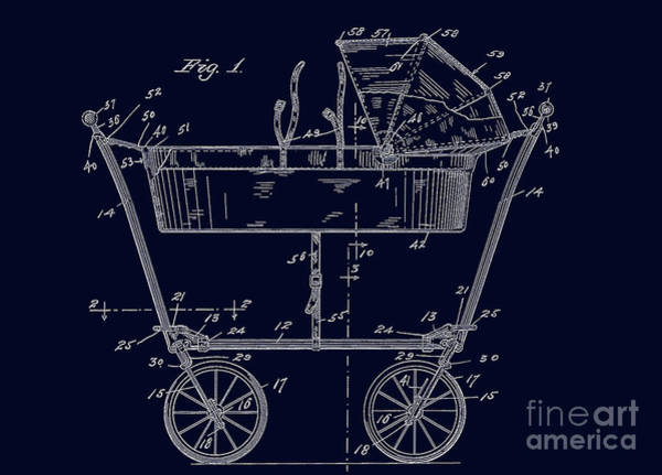 1922 Baby Carriage Patent Art Blueprint Art Print