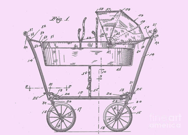 Digital Art - 1922 Baby Carriage Patent Art Pink by Lesa Fine