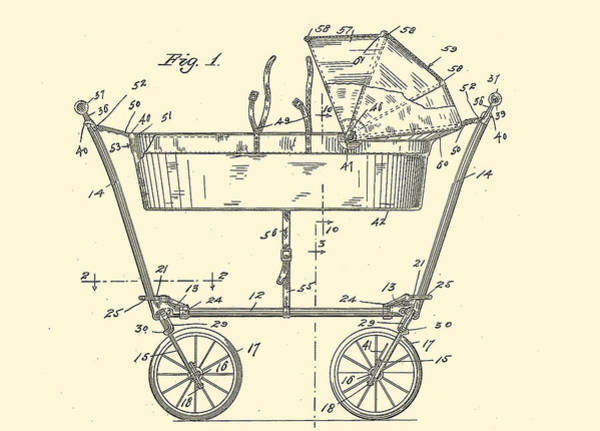 Digital Art - 1922 Baby Carriage Patent Art Yellow 2 by Lesa Fine
