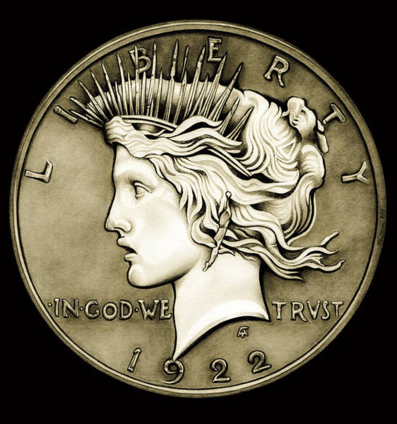 Drawing - 1922 Circulated Peace Dollar by Fred Larucci