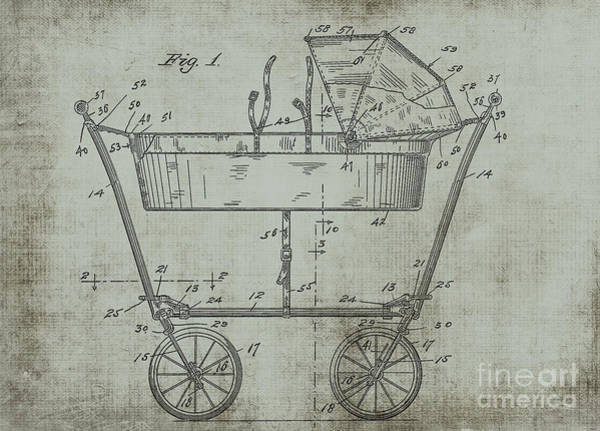 Digital Art - 1922 Mahr Baby Carriage Patent Art Green by Lesa Fine