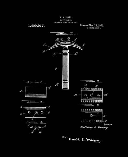 Digital Art - 1922 Safety Razor Barry Bw by Lesa Fine
