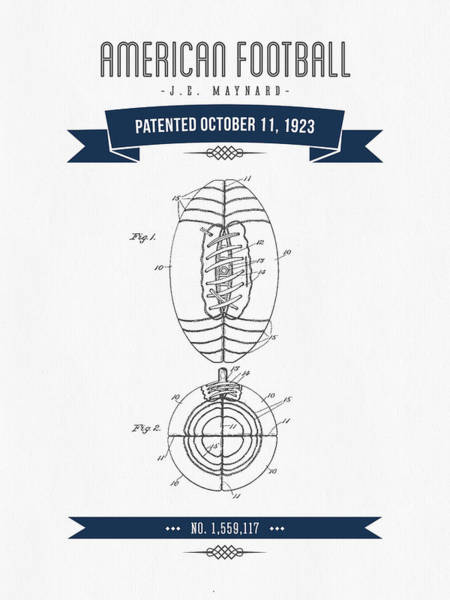 Gridiron Digital Art - 1923 American Football Patent Drawing - Retro Navy Blue by Aged Pixel