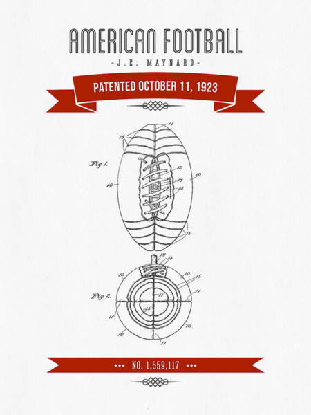 Gridiron Digital Art - 1923 American Football Patent Drawing - Retro Red by Aged Pixel