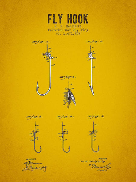 Wall Art - Digital Art - 1923 Fly Hook Patent - Yellow Brown by Aged Pixel