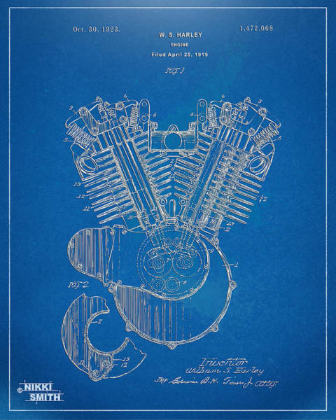 Den Digital Art - 1923 Harley Davidson Engine Patent Artwork - Blueprint by Nikki Smith