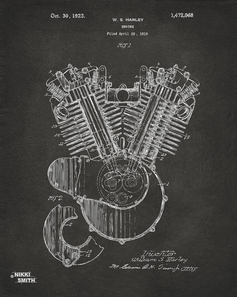 Den Digital Art - 1923 Harley Engine Patent Art - Gray by Nikki Marie Smith