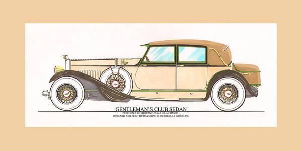 Classic Car Drawings Painting - 1923 Hispano Suiza Club Sedan By R.h.dietrich by Jack Pumphrey