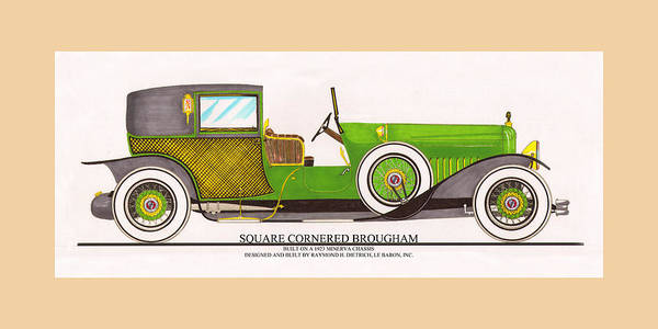Classic Car Drawings Painting - 1923 Minerva By Raymond H. Dietrich Lebaron Inc by Jack Pumphrey