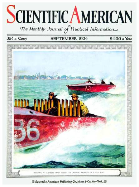 Speed Boat Digital Art - 1924 - Scientific American Magazine Cover - Color by John Madison