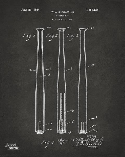 Baseball Bat Patent Wall Art - Digital Art - 1924 Baseball Bat Patent Artwork - Gray by Nikki Marie Smith
