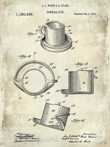 1900 Wall Art - Photograph - 1924 Coffee Cup Patent Drawing by Jon Neidert