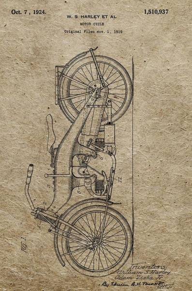 1924 Drawing - 1924 Harley Davidson Patent by Dan Sproul