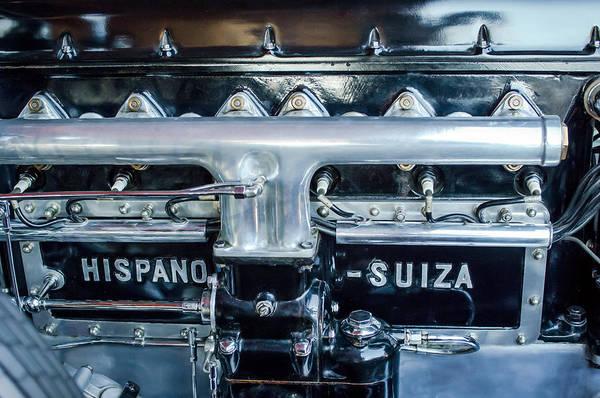 Photograph - 1924 Hispano-suiza Engine Emblem -0120c by Jill Reger