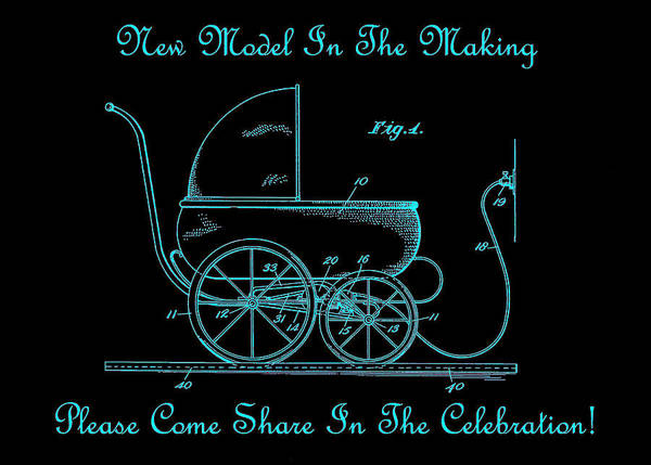 Photograph - 1924 Patent Art Koch Baby Carriage Black Teal by Lesa Fine