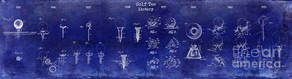 Tee Photograph - 1924 To 1974 Golf Tee Patent History Drawing Blue by Jon Neidert