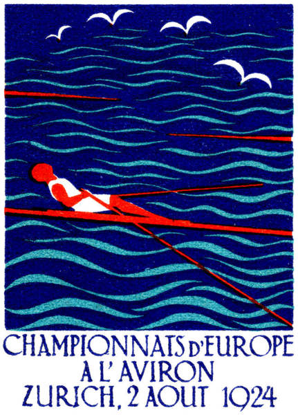 Rowing Wall Art - Painting - 1924 Zurich Rowing Poster by Historic Image