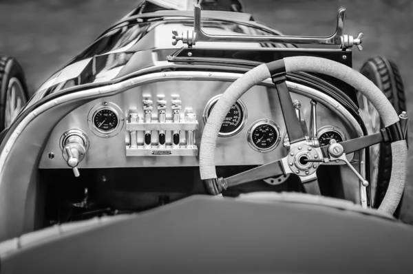 Photograph - 1925 Aston Martin 16 Valve Twin Cam Grand Prix Steering Wheel -0790bw by Jill Reger