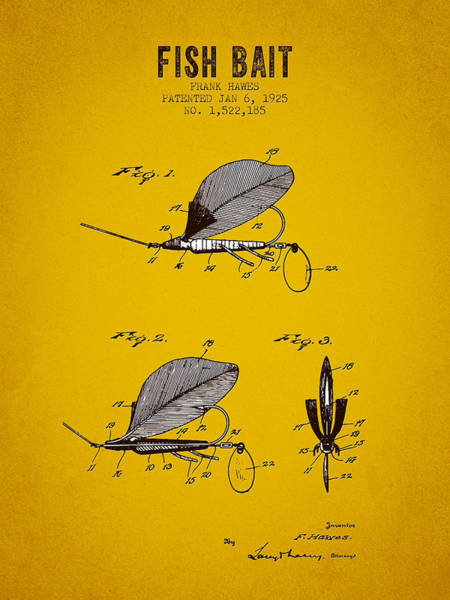 Wall Art - Digital Art - 1925 Fish Bait Patent - Yellow Brown by Aged Pixel