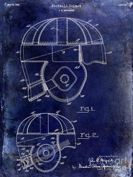 Wall Art - Photograph - 1925 Football Helmet Patent Drawing Blue by Jon Neidert