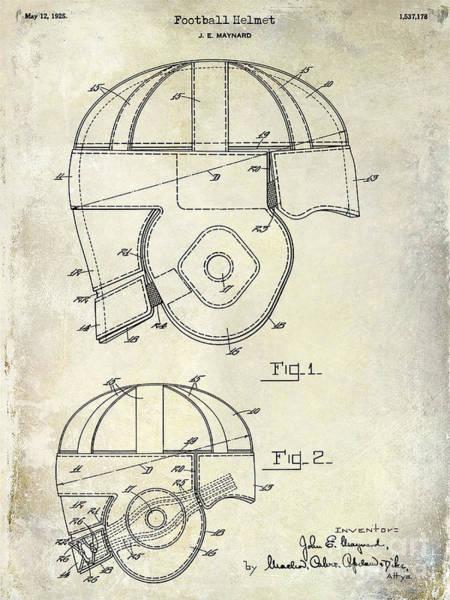Wall Art - Photograph - 1925 Football Helmet Patent Drawing by Jon Neidert