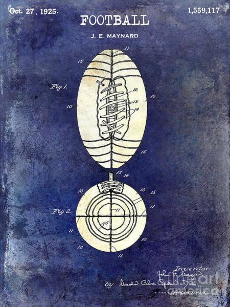 Games Photograph - 1925 Football Patent Drawing 2 Tone Blue by Jon Neidert