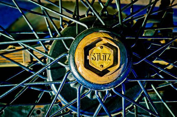 Photograph - 1925 Stutz Series 695h Speedway Six Torpedo Tail Speedster Wheel Emblem -0212c by Jill Reger