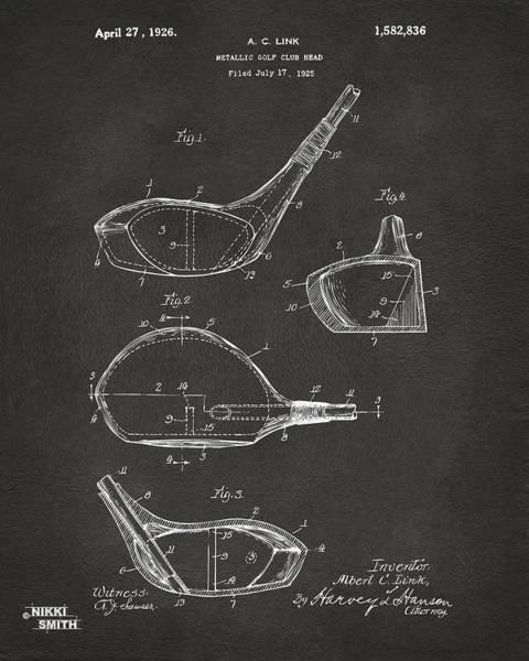 Wall Art - Digital Art - 1926 Golf Club Patent Artwork - Gray by Nikki Marie Smith