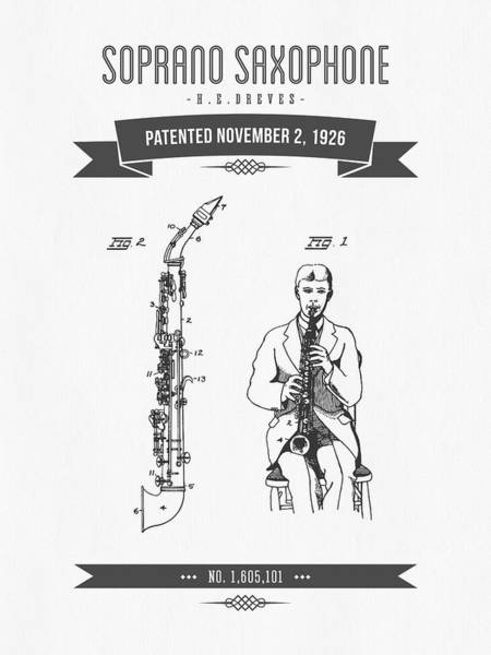 Wall Art - Digital Art - 1926 Soprano Saxophone Patent Drawing by Aged Pixel