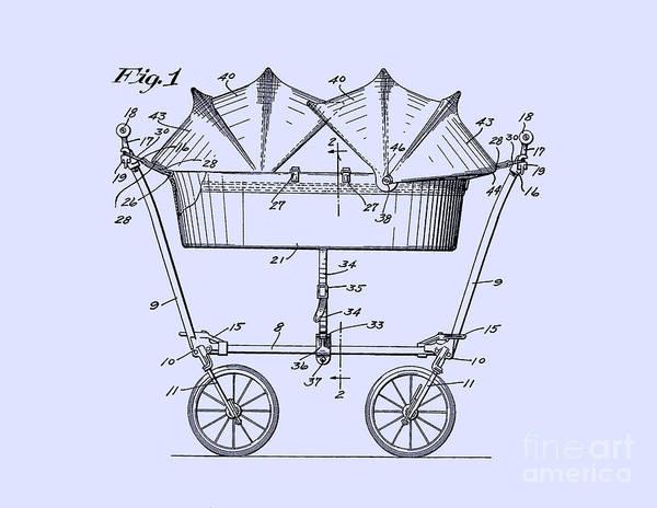 Digital Art - 1927 Baby Twin Baby Carriage Blue by Lesa Fine