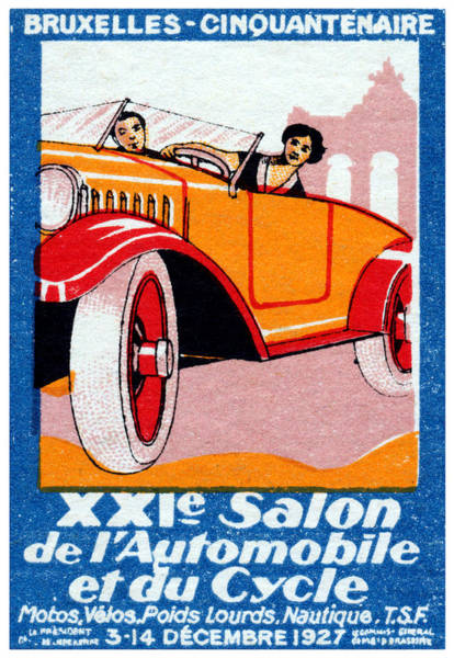Historic Car Painting - 1927 Brussels Automotive Show by Historic Image