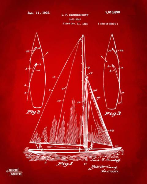 Sailors Digital Art - 1927 Sailboat Patent Artwork - Red by Nikki Marie Smith