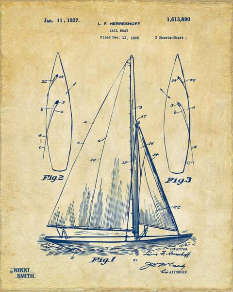 Sailors Digital Art - 1927 Sailboat Patent Artwork - Vintage by Nikki Marie Smith