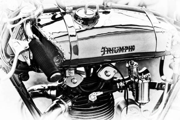 Photograph - 1927 Triumph Tt Racer Monochrome by Tim Gainey