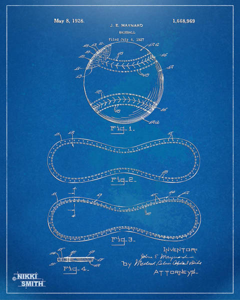 Den Digital Art - 1928 Baseball Patent Artwork - Blueprint by Nikki Smith
