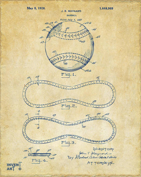 Digital Art - 1928 Baseball Patent Artwork Vintage by Nikki Marie Smith