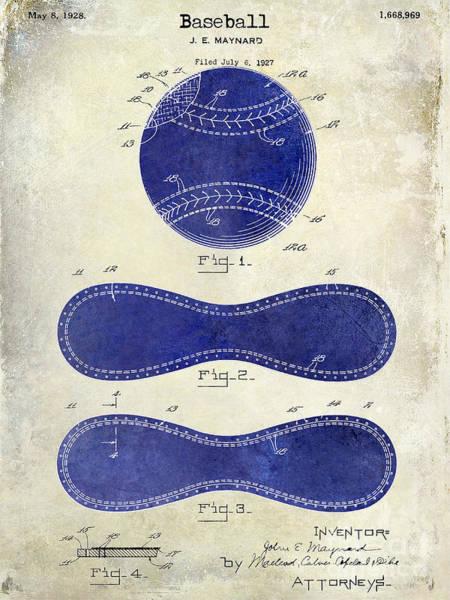 Pete Rose Wall Art - Photograph - 1928 Baseball Patent Drawing 2 Tone by Jon Neidert