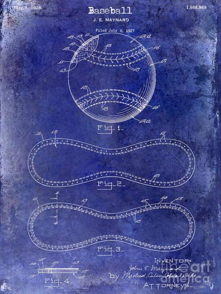 Pete Rose Wall Art - Photograph - 1928 Baseball Patent Drawing  Blue by Jon Neidert