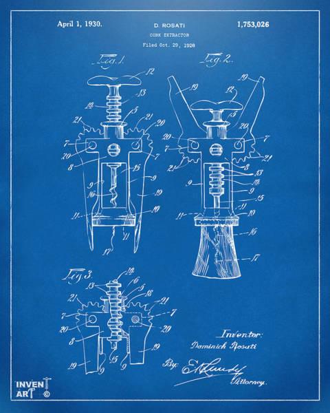 Wall Art - Digital Art - 1928 Cork Extractor Patent Artwork - Blueprint by Nikki Marie Smith