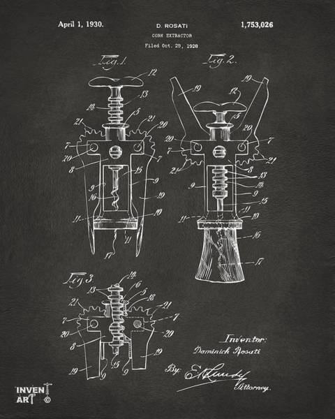 Wall Art - Digital Art - 1928 Cork Extractor Patent Artwork - Gray by Nikki Marie Smith